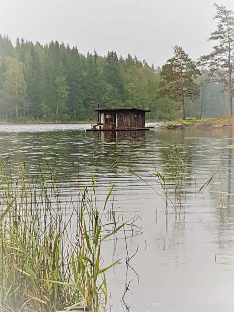 The Floating Cabin seen from the shore.