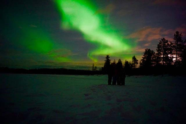 The Northern Lights can be seen on dogsled tours anytime from November to early April.
