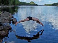 Taking a dip is a great way to keep cool when camping.