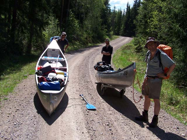 Canoes can be easily transported over surfaced tracks by the use of a canoe trolley, included as standard for many of our tours.