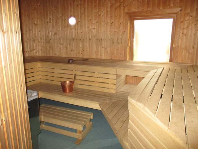 A typical sauna interior.