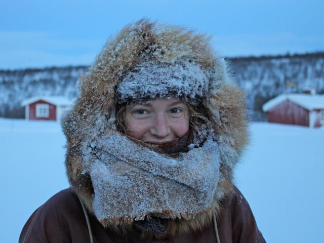 The traditional clothing provided for our Aurora Husky Adventure in Finnmark provides excellent protection against the cold.