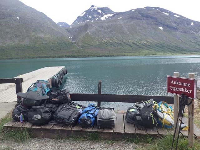 Our main luggage awaiting us at the jetty having been transported by boat.