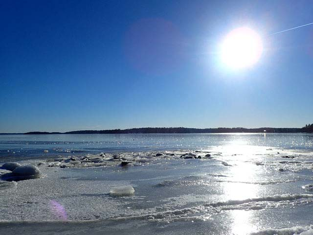 Sunshine reflecting on the ice is a beautiful sight.