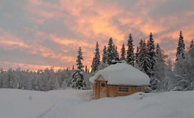 Sauna at sunset.
