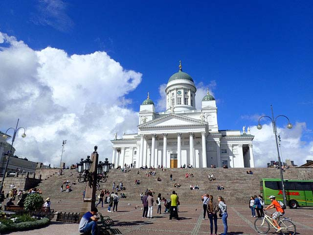 Exploring Helsinki cathedral.