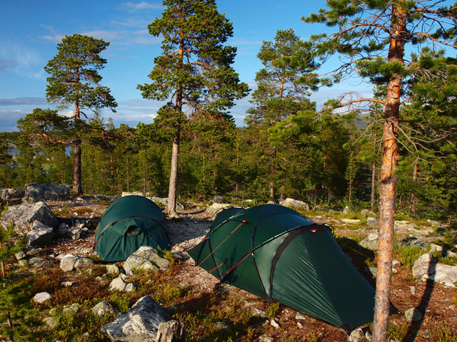 Wild camping in Sweden.