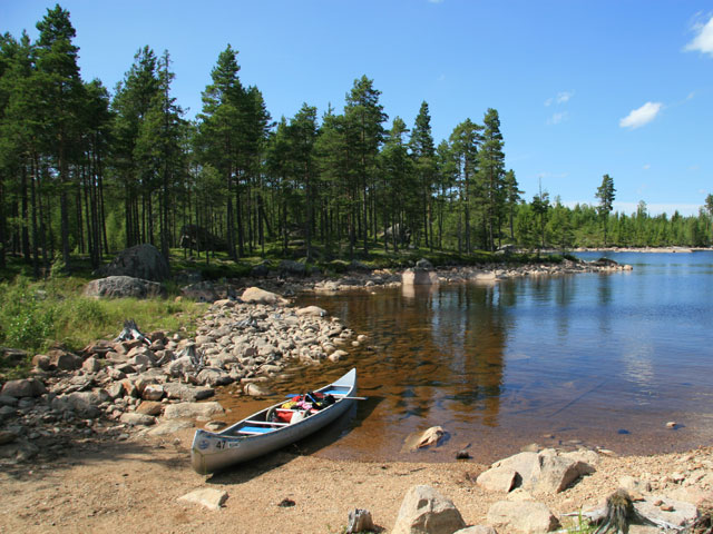 Canoeing and camping in Sweden.