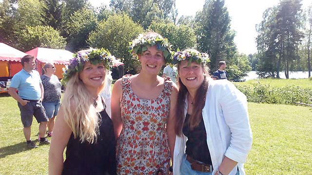 "Making our own Midsummer ""flower crowns""! Jayne, Niki and Sofia from the Nature Travels team."