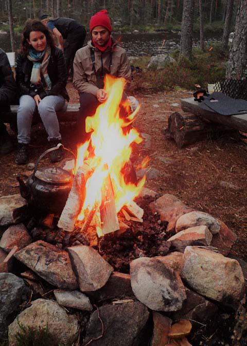 Enjoying the fire.
