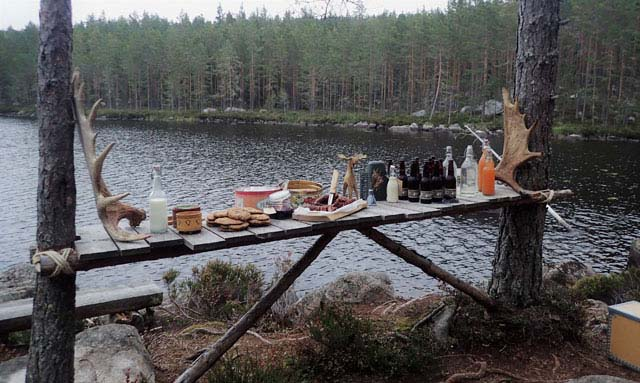 A wonderful wilderness dinner by the lake.