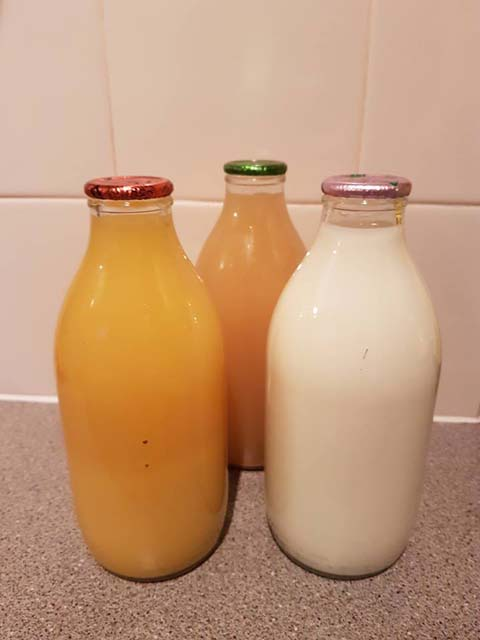 Getting your milk and juice delivered in glass bottles is a great way to reduce your plastic consumption, and it's fun to collect from the doorstep in the morning!