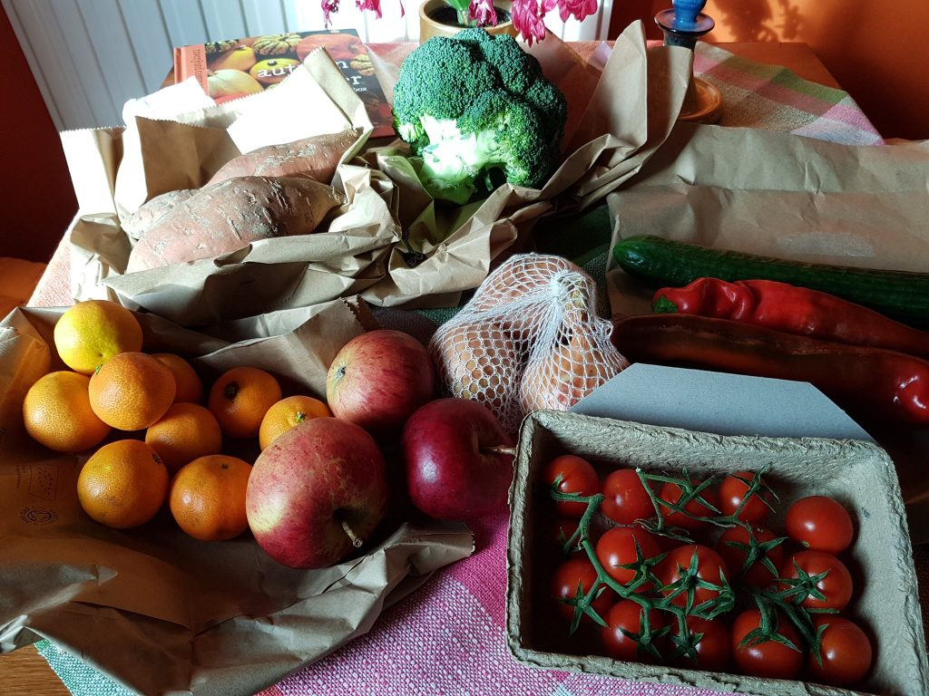 Huge amounts of plastic are used for the packaging of fruit and vegetables - getting your veg delivered is a great way to cut this out.