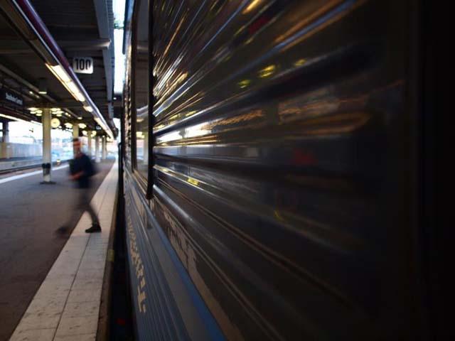Train platform in Sweden.
