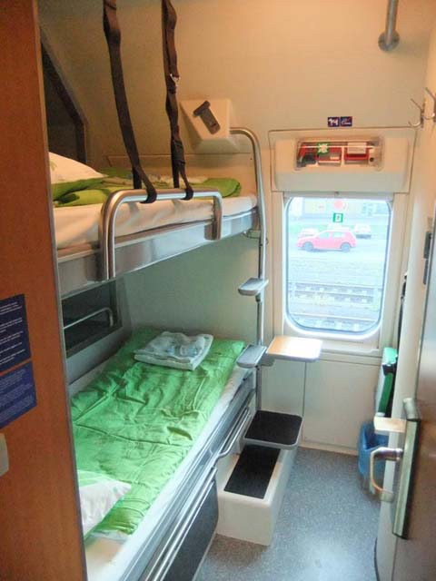 Upgraded compartment on Finnish night train (Swedish trains are similar).