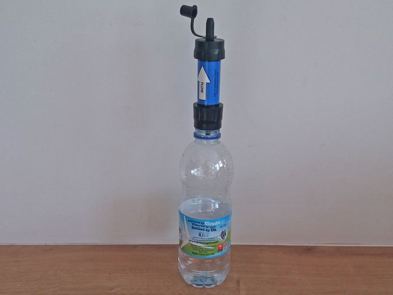 The Sawyer can also attach to many, but not all, plastic screw-top bottles if you want to use an alternative container for your unfiltered water. This one's just a little too wide. Photo: Nature Travels.