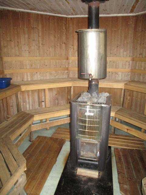 Many saunas will also heat a tank of water, providing hot water to wash when then there are no showers available.