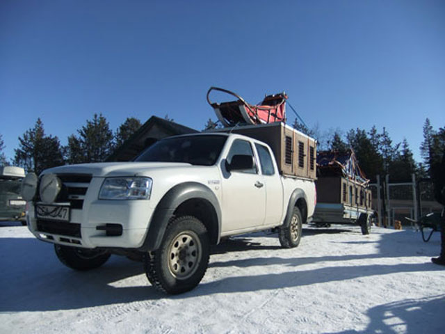 Loading the trailer to begin the Husky Mountain Expedition.