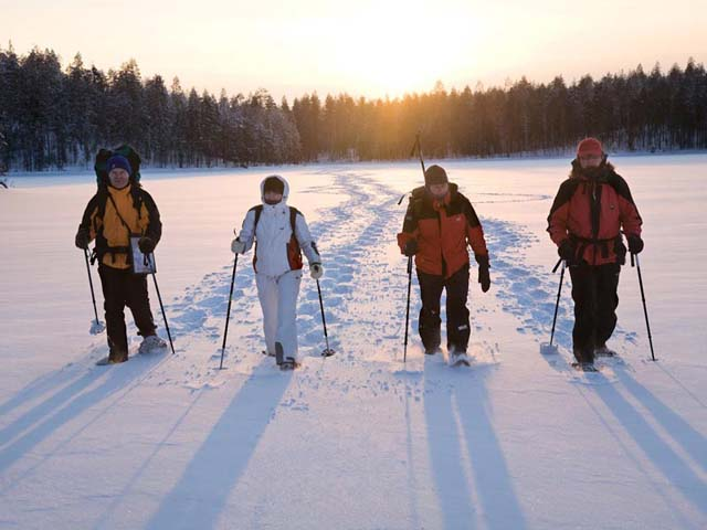 Snowshoeing in the Hossa National Park.