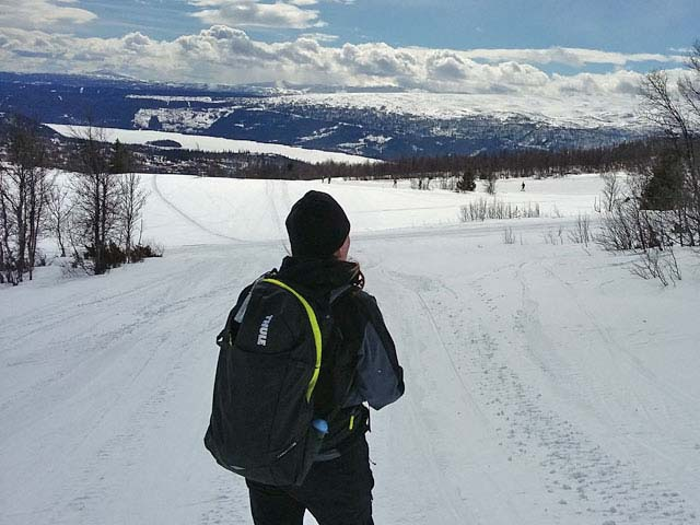 Enjoying the views on a snowshoe tour.