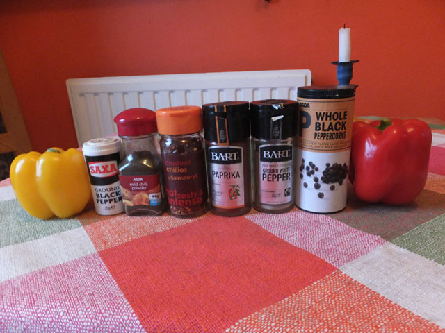 Difference between chilli, pepper and paprika in Swedish.
