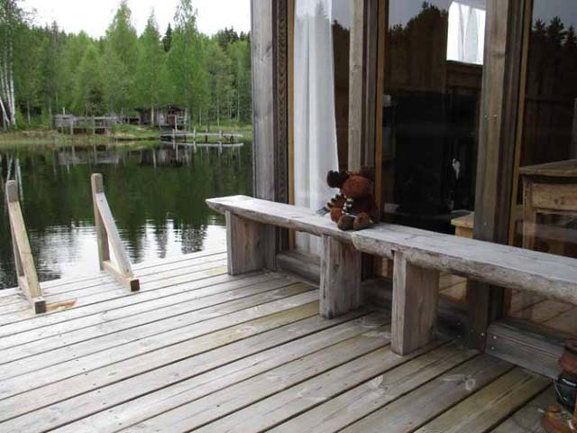 Outside the floating cabin.