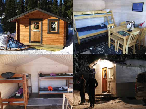 Cabins at kennel for dog sledding