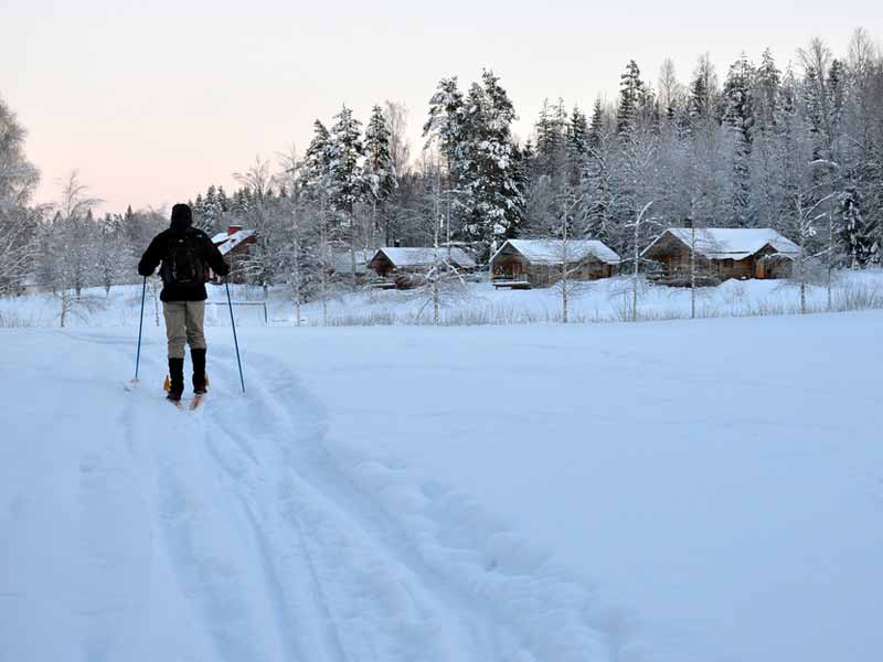 Cross country skiing at the Log Cabin Escape