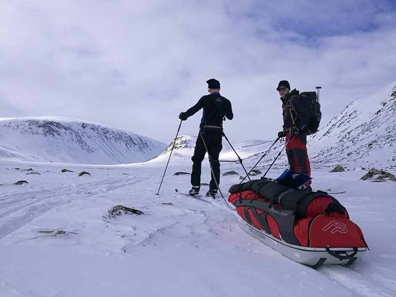 Ski touring with a pulk